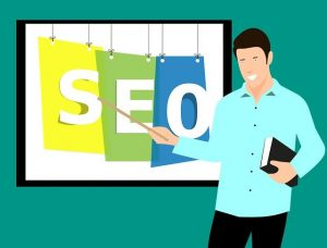 person teaching about seo