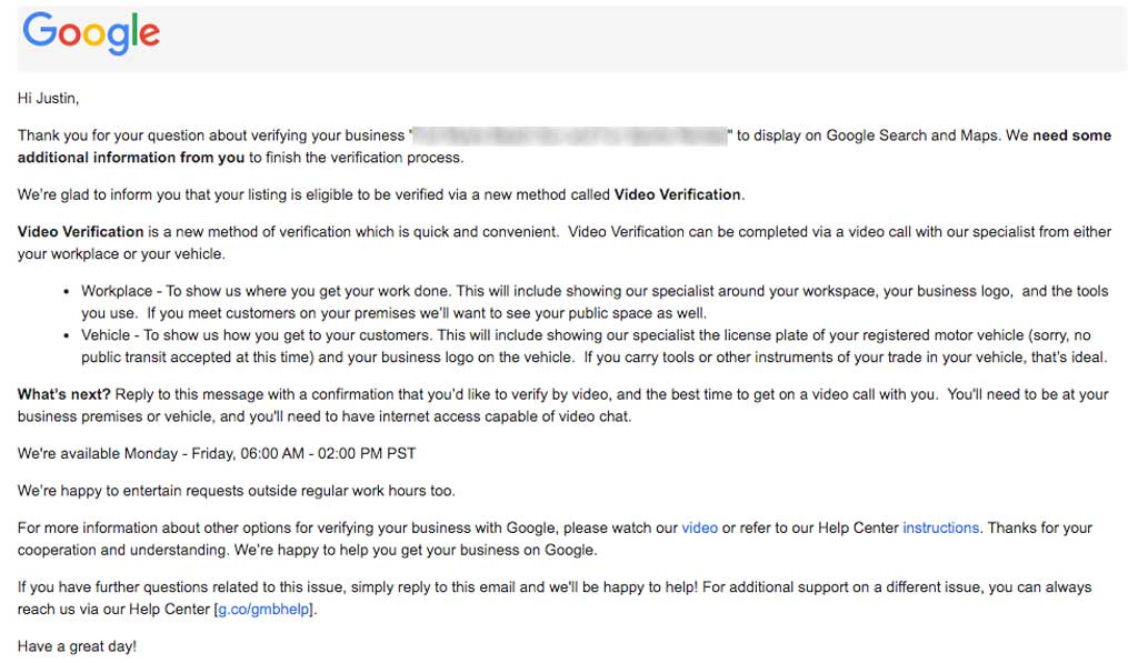 Email from Google My Business Support to verify listing via video call
