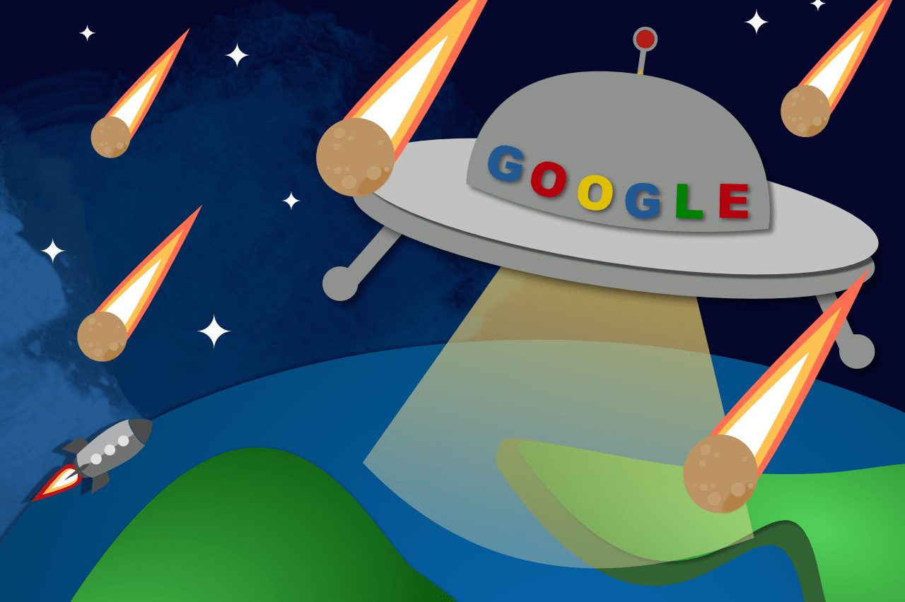 Google ship in outer space above Earth with meteor shower