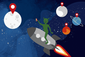 Alien in outer space using a mobile phone for local SEO