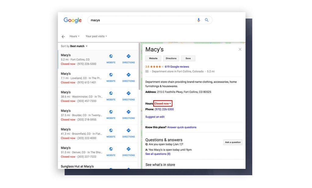 Macy's location search results with all locations closed during COVID-19