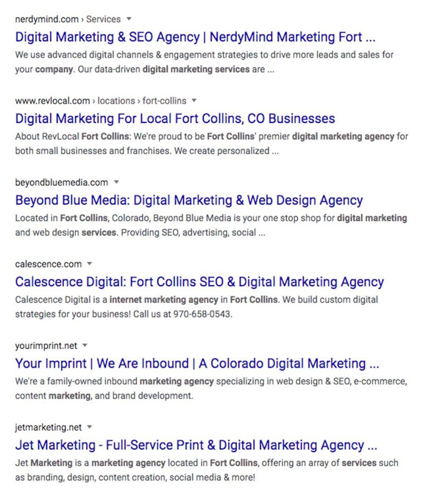 Digital marketing services organic results in Fort Collins