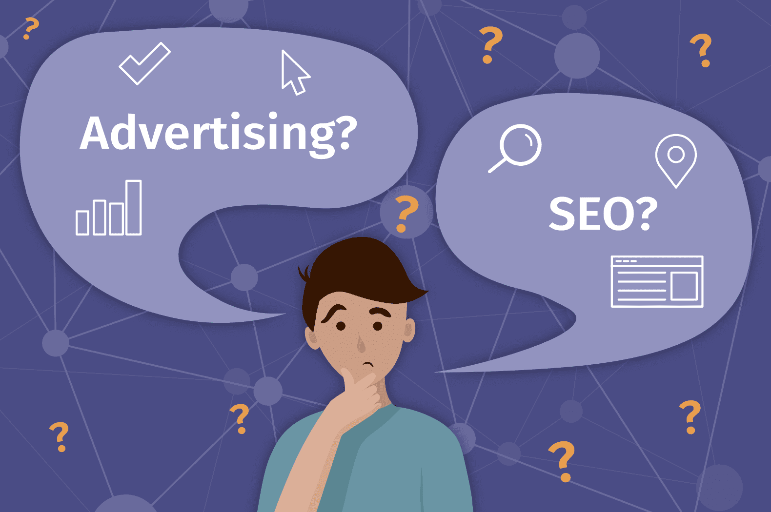 Graphic with man pondering if his small business should use ads or SEO