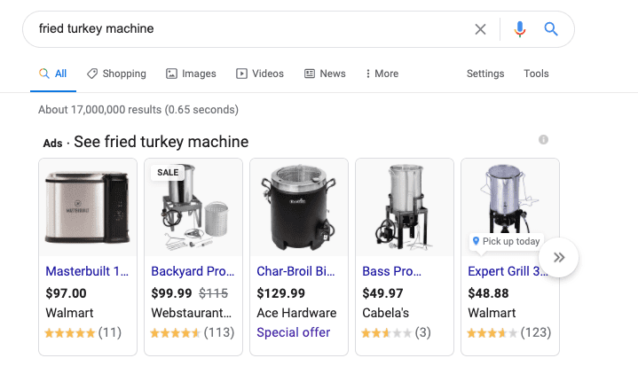 Google product ads for turkey friers