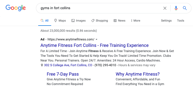 Ad on Google SERP for Anytime Fitness