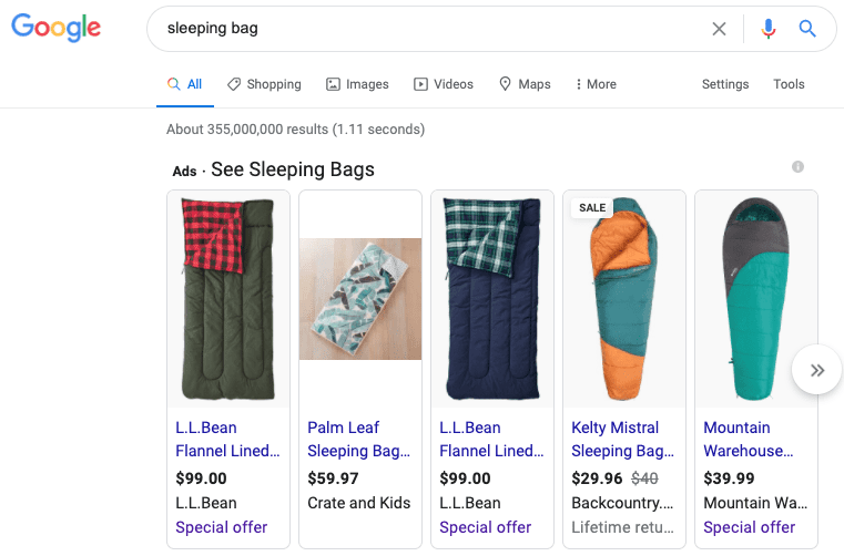 Shopping ad on Google SERP
