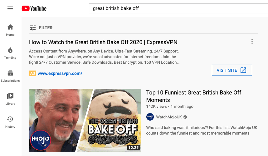 Display ad promoting places to stream The Great British Bakeoff